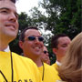 Will Swetnam and Darren Mullen in the sea of yellow behind Lance