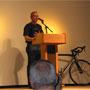 Our own Jim Owens, the recipient of the Maxine Yonker Peloton Triumph Award, during his amazingly moving comments. He thanked Davis for the guidance and mentorship of his late father Damon (our founder), as a part of his talk. Lance then got up and said he was at a loss for words. After hearing the story of Maxine from her widower Tom, and then Jim's comments How can you say anything after such inspirational stories such as those... He continued to speak for a few more minutes to let the achievements of all the awardees sink in before Robin Williams came on. Lance also thanked Davis Phinney for his continued support of the LAF and for what Damon had done, and the CCC continues to do for survivors.